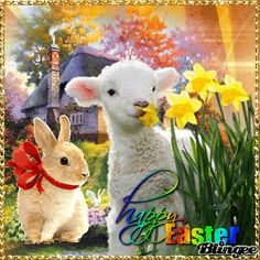 Happy Easter Gif, Happy Easter Quotes, Holiday Gif, Holiday Wishes, Easter Art, Easter Bunny, Ostern Wallpaper, Easter Paintings, Happy Birthday Wishes Images