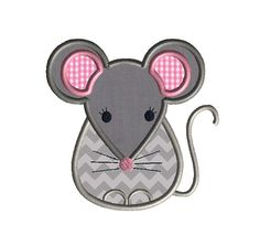 Little Mouse Applique Machine Embroidery by SewChaCha on Etsy