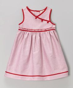 Look what I found on #zulily! Red Mock Wrap Babydoll Dress - Toddler & Girls by Alouette #zulilyfinds