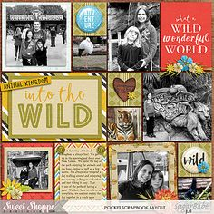 Animal Kingdom Pocket Scrapbook Layout by Juli Fish.   Animal Kingdom by Digital Scrapbook Ingredients; 365 Unscripted Stitched Grids 6 by Traci Reed available www.sweetshoppedesgins.com #pocketscrapbook  #scrapbook #Disneyscrapbook animals, Disney, journal cards, black and white photos, flair, multiple photos
