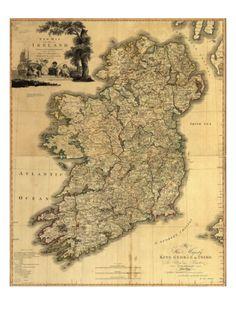 Ireland Map - Ireland - Ireland Art - Map Decor - Irish Art - Ireland Art - Ireland Decor - Ireland Wall Art - Old Map - Ireland Poster Old Maps, Antique Maps, Vintage Maps, Vintage Posters, Ireland Map, Ireland Travel, Printable Maps, Printables, Map Globe
