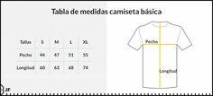 Resultado de imagen para medidas de camisetas