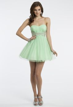 Camille La Vie Short and Strapless Glitter Prom Dress