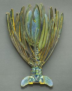 Right side fragment of corsage ornament. Rene Lalique (1860-1945) Circa 1900-1902. Gold, enamel, glass.
