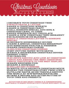 Christmas Countdown Activities List- some ideas for our annual Christmas wreath activities