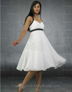 Empire Sweetheart Chiffon Belt White Tea-length Wedding Dress at Millybridal.com