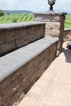 Napa Wall & Stoneledge Fire Pit in Mesquite Wall Seating, Seating Areas, Free Standing Wall, Sit Back, Walkway, Columns, Patio Ideas, Outdoor Furniture, Outdoor Decor