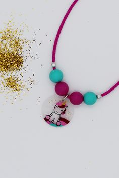 Licorne en Verre Carrelage Pendentif Collier Licorne Unicorn Bijoux Lune Collier
