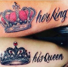 40 King and Queen Tattoos for Lovers That Kick Ass Paar Tattoos, Neue Tattoos, Body Art Tattoos, Cool Tattoos, Tatoos, Tattoos Pics, Marriage Tattoos, Relationship Tattoos, Tattoos For Lovers