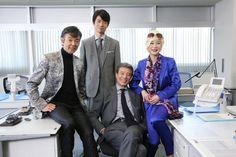 2015年4月に行われた「さらば あぶない刑事」の撮影に集まったメインキャストの4人。左より柴田恭兵、仲村トオル、舘ひろし、浅野温子。