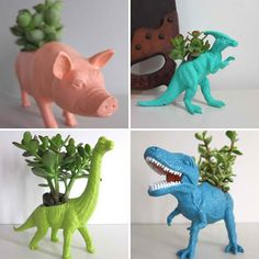 Found this on Dirt and Martinis: What a great way to get kids interested in plants and a fun way to recycle old toys. These would be a great conversation started in a living room or sunny kitchen