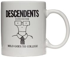 """DESCENDENTS MILO GOES TO COLLEGE COFFEE MUG Don't be a loser, sip your coffee from a mug all your friends will be jealous of. That's right we have the officially licensed Descendents """"Milo Goes to College"""" mug. Image is on both sides. $12.00 #descendents #mug #coffeemug"""