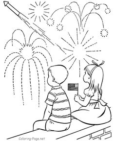 4th of July coloring pages - Watching Fireworks