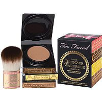 Too Faced - Bronzer Wardrobe in  #ultabeauty $22.00....4 Travel size bronzers: chocolate Soleil, Milk Chocolate Soleil, Sun Bunny and Endless Summer, plus the teddy bear brush.