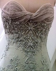 Gorgeous beaded and crystal gown detailing