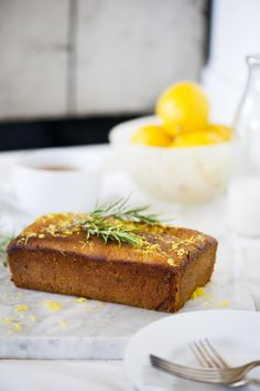 Sweet lemon, olive oil, and rosemary bread Quick Bread Recipes, Muffin Recipes, Baking Recipes, Brownie Recipes, Cake Recipes, Rosemary Bread, Olive Oil Cake, I Foods, Food Photography