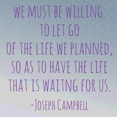 We must be willing to let go...