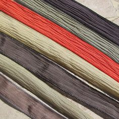 Classic Chinos Hand Dyed Silk Ribbon Assortment  7 by Jamnglass, $23.99