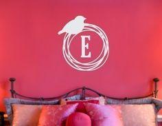 Bird+Nest+Monogram+Vinyl+Wall+Decal+by+tweetheartwallart+on+Etsy,+$25.00