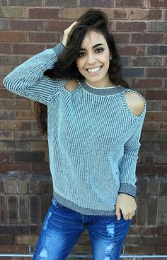 Max Cold Shoulder Sweater Top- $45