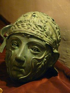 Roman bronze cavalry helmet with a facemask, 1st Century CE, Istanbul Archeaological Museum, Vize.