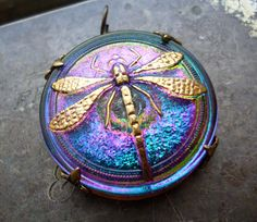 Blue Purple Green Art Nouveau Dragonfly Glass Brass Pendant. $22.00, via Etsy.