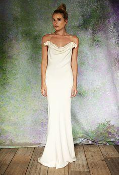 "Savannah Miller for Stone Fox Bride - Fall 2016. ""The Chloe"" silk crepe bias-cut wedding dress with cowl neckline, Savannah Miller for Stone Fox Bride"