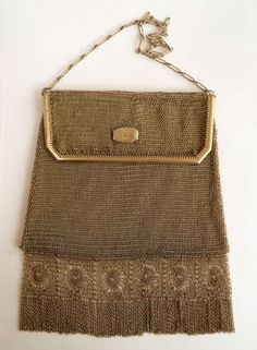 Whiting & Davis Gold Mesh Princess Mary Style Purse with RARE Venetian Lace Fringe