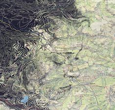 British artist Ed Fairburn uses maps as his canvas to create incredible portrait drawings. Each detailed work merges the topographic lines of cartography with the hand-drawn contours of the human face. Ed Fairburn, Creative Illustration, Illustration Art, Art Du Monde, Art Et Design, Art Carte, School Murals, English Artists, A Level Art