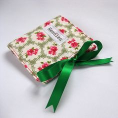 Handmade Sewing Needlecase with Green Ditsy Floral Print and Applique Detail £6.00