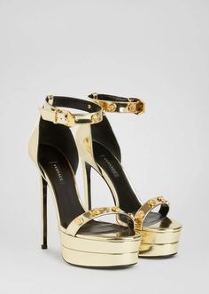 Medusa Medallion Platform Sandals from Versace Women's Collection. Ankle strap, high heel sandals crafted in supple calf leather featuring Medusa studded leather straps. Louis Vuitton High Heels, Versace Sandals, Stiletto Heels, Shoes Heels, Hype Shoes, Sandals For Sale, Gold Sandals, Studded Leather, Gucci