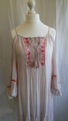 Spazio Donna* schulterfreies Kleid mit Stickereien, rosa