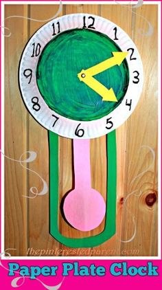 Paper Plate Clock with movable hands & pendulum - A great way to teach time & a cute craft for New Year's Eve