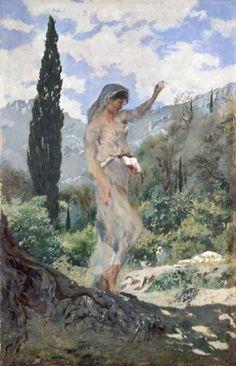 Frank Buchser - Spinning Girl on Corfu
