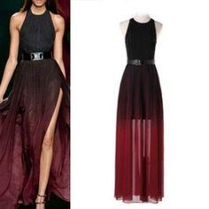 Sleeveless HalterNeck Gradient Long Maxi Dress by Luminositylondon