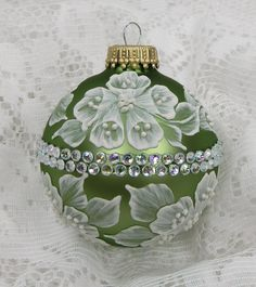 Soft Sage Hand Painted 3D Floral Design MUD Ornament with Rhinestone Bling. $25.50, via Etsy.