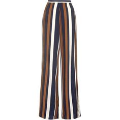 TOPSHOP Striped Wide Leg Trousers (3,895 INR) via Polyvore featuring pants, navy blue, navy wide leg pants, striped trousers, tall pants, long trousers and long wide leg pants