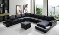 Ritz Modern Black Leather Sectional Sofa with Ottoman- VIG Furniture
