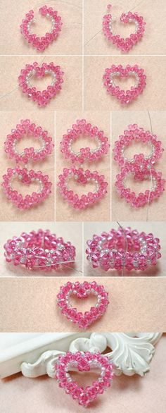 Tutorial on How to Make a 3D Crystal Beaded Heart Pendant Step by Step from LC.Pandahall.com
