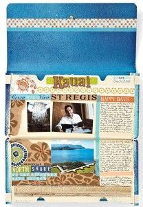 Cute idea for on-the-go vacation scrapbook...made out of coupon envelope