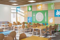 15 Incredible Cafeterias You Wish You Had In Your School Outstanding School Cafeterias wood on walls and paintings of trees/plants/fruits and plates. Blue green and yellow long tables Kindergarten Interior, Kindergarten Design, Cafeteria Design, Mensa, Diy Bathroom, Lunch Room, Eat Lunch, School Furniture, School Building