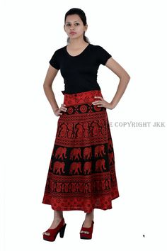 901cb8c64fdd Skirt Indian Women Elephant Printed Wrap Around Cotton Calf Long Skirt