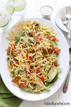 Flavorful chicken enchilada salad with creamy homemade Caesar dressing recipe