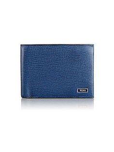 Tumi Monaco Textured Leather Billfold Wallet - Bright Blue