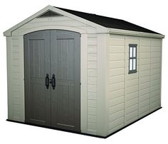 Storage Sheds - Keter Factor Large 8 x 11 ft Resin Outdoor Yard Garden Storage Shed TaupeBrown ** Want to know more, click on the image.
