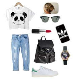 """Everyday outfit"" by dimitra-st on Polyvore featuring MANGO, adidas, H&M, Ray-Ban, MAC Cosmetics and Olivia Burton"