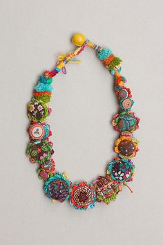 Crochet art necklace fiber jewelry with fabric от rRradionica