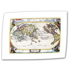 "Antique ""Navigationes Praecivae Evropaeorvm Antique Map"" Graphic Art on Canvas"