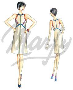 Molde 3358 PDF | Patrón de costura Vestidos
