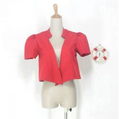 Fashionable Short Puff Sleeves Red Suiting Blazer For Women — 11.96 € Size: S Color: RED